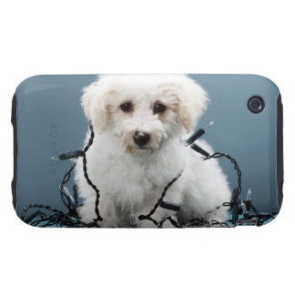 Puppy tangled in Christmas lights iPhone 3 Tough Cover