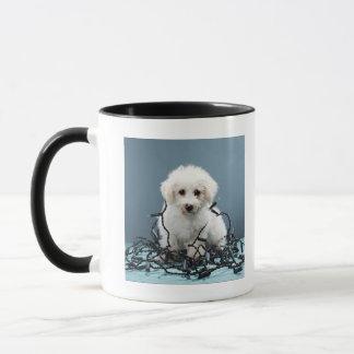 Puppy tangled in Christmas lights Mug