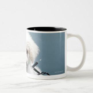 Puppy tangled in Christmas lights Two-Tone Coffee Mug