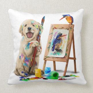 Puppy the artist draws the bird throw pillow