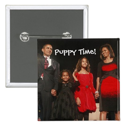 Puppy Time for the Obama Girls Pinback Button