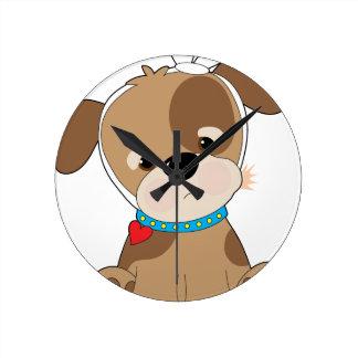 Puppy Toothache Round Clock