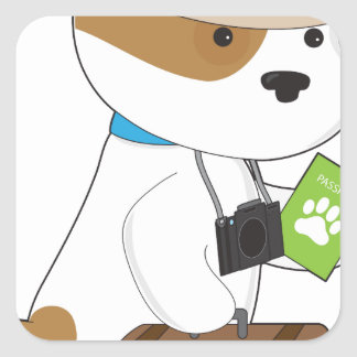 Puppy Travel Square Sticker