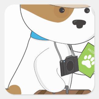 Puppy Travel Square Sticker