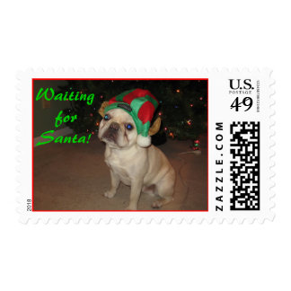 Puppy Waiting for Santa - Customized Postage Stamps