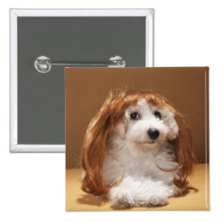 Puppy wearing ginger wig 2 inch square button