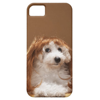 Puppy wearing ginger wig iPhone 5 covers