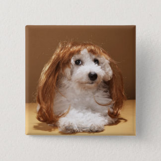 Puppy wearing ginger wig pinback button