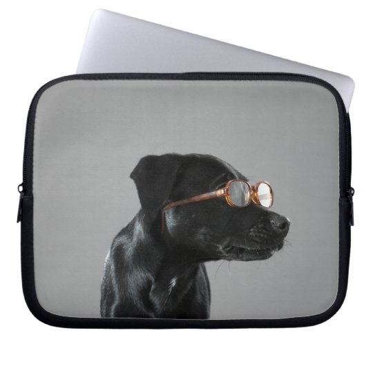 Puppy wearing glasses computer sleeve