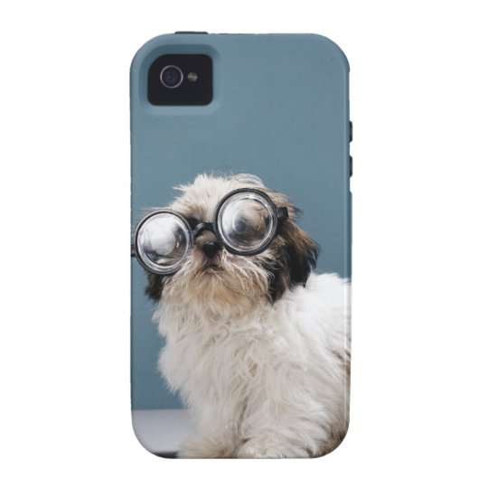 Puppy wearing thick glasses iPhone 4 case