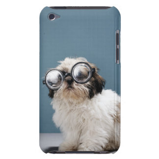 Puppy wearing thick glasses iPod touch case