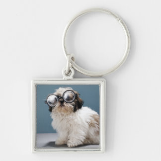 Puppy wearing thick glasses key chain