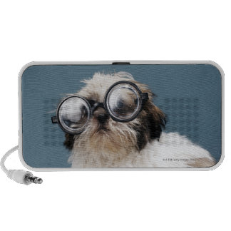 Puppy wearing thick glasses portable speaker