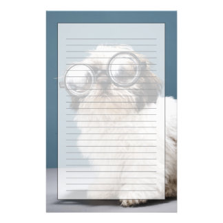 Puppy wearing thick glasses stationery