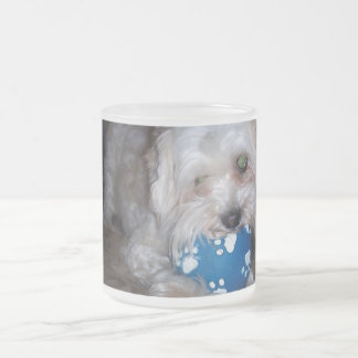 Puppy with ball frosted glass coffee mug