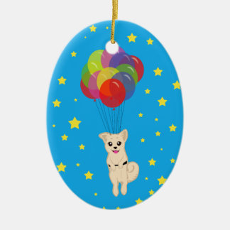 Puppy with Balloons Ceramic Ornament