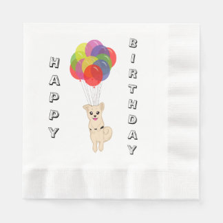 Puppy with Balloons Coined Luncheon Napkin