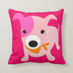 Puppy with Bandana pink & red Pillow
