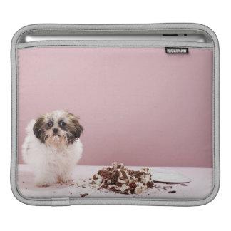 Puppy with cake on floor iPad sleeve