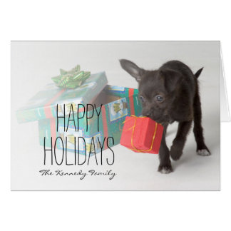 Puppy with Christmas gifts Card