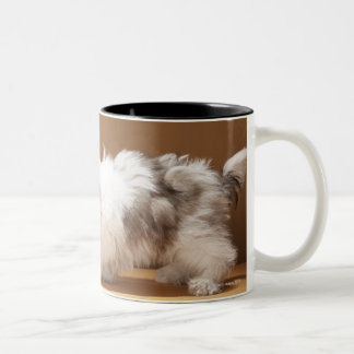 Puppy with head in cookie jar Two-Tone coffee mug