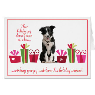 Puppy with Holiday Gifts Greeting Card