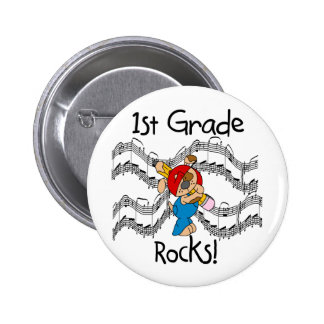 Puppy with Pencil 1st Grade Rocks Pinback Button
