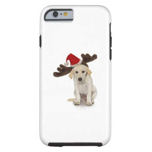 Puppy with Santa Hat and Reindeer Ears Tough iPhone 6 Case