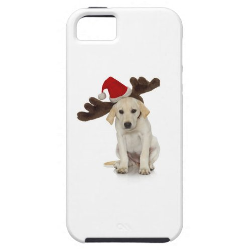 Puppy with Santa Hat and Reindeer Ears iPhone SE55s Case
