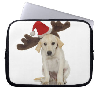 Puppy with Santa Hat and Reindeer Ears Laptop Sleeve