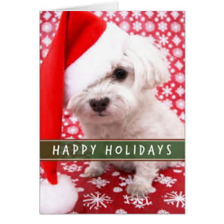 Puppy with Santa Hat Christmas card