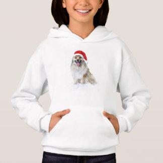 Puppy with santa hat hoodie