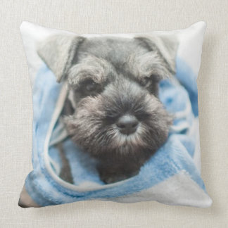 Puppy wraps with towel. throw pillow