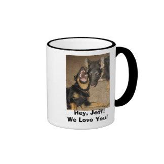 Puppy Yowl,   Hey, Jeff!We Love You! Ringer Mug