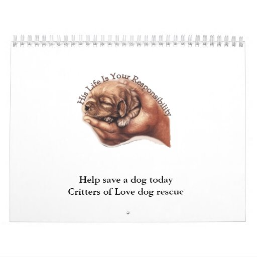 Puppyhand, ayuda ahorrar Critters de un perro hoy  Calendarios De Pared