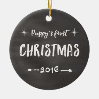 Puppy's 1st Christmas Chalkboard Ceramic Ornament