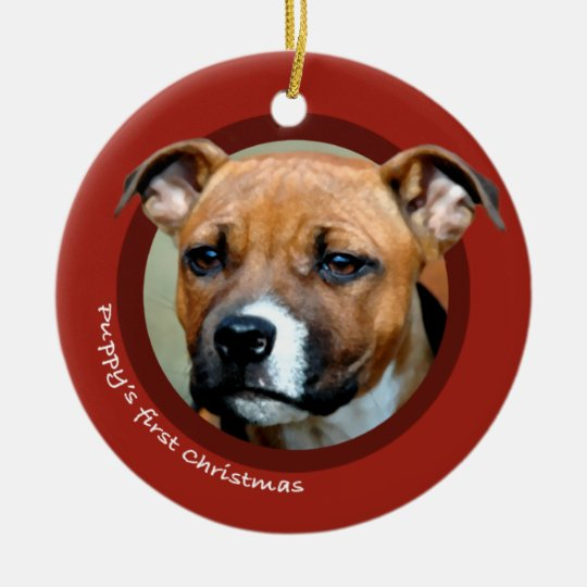 Puppy's First Christmas (American Staffordshire) Ceramic Ornament