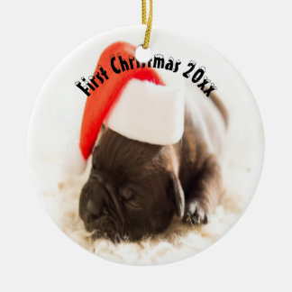 Puppy's First Christmas Ceramic Ornament