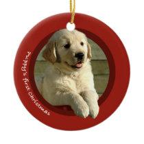 Puppy's First Christmas (Golden Retriever) Ceramic Ornament