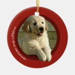 Puppy's First Christmas (Golden Retriever) Double-Sided Ceramic Round Christmas Ornament