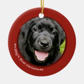Puppy's First Christmas (Labrador Retriever) Ceramic Ornament