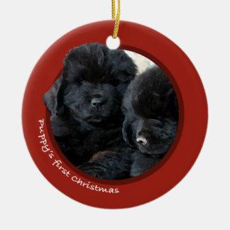 Puppy's First Christmas (Newfoundland) Ceramic Ornament