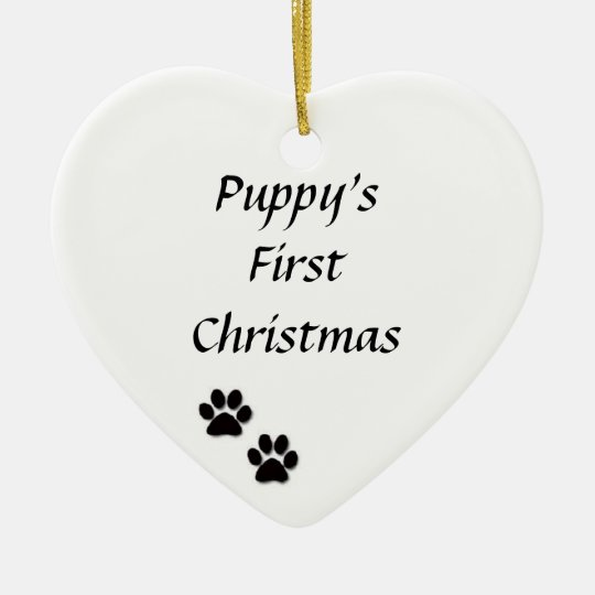 Quot Puppy S First Christmas Quot Ornament Zazzle Com
