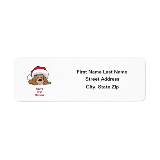 Puppy's FIrst Christmas Return Address Label