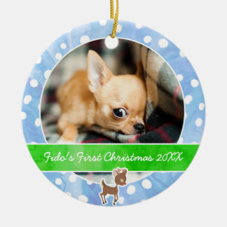 Puppy's First Christmas Rudolph Ceramic Ornament