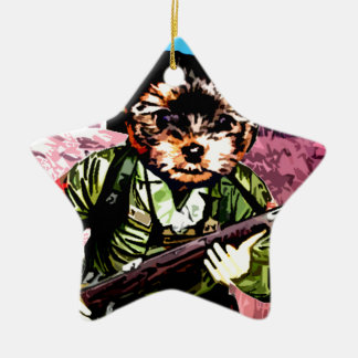 Puppy's War Ceramic Ornament