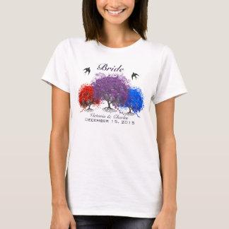 Puprle Heart Leaf Tree Wedding T-Shirts