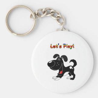 Pup's Invitation to Play! Basic Round Button Keychain