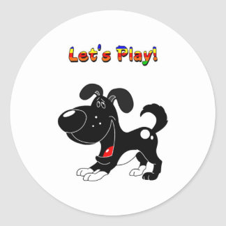 Pup's Invitation to Play! Classic Round Sticker