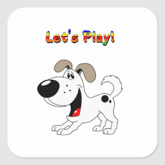 Pup's Invitation to Play! Square Sticker